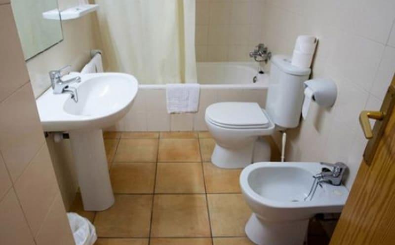 Kavos workers apartment bathroom