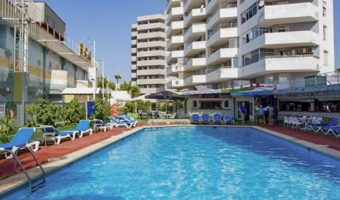 Magaluf workers apartment outside pool area