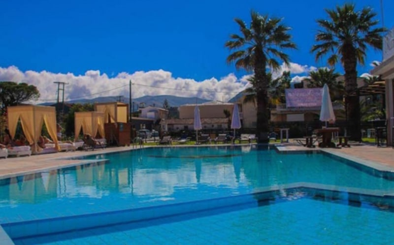 Zante workers apartment pool area